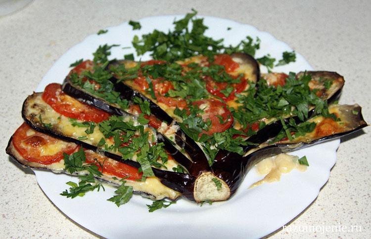 рецепт закуска из баклажанов с чесноком и помидорами рецепт с фото