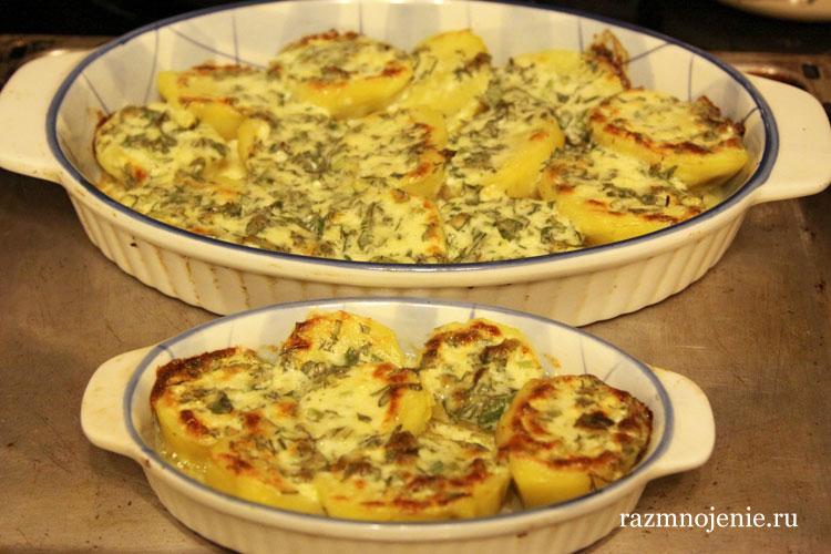 Картошка с чесноком и сыром в духовке рецепт