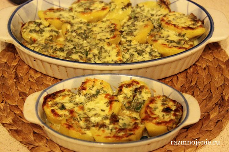 картофель в духовке с зеленью и чесноком