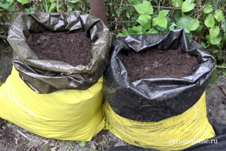 Подготовка мешков для выращивания огурцов..