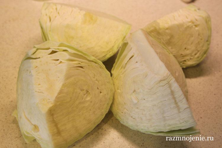 Готовим капусту и режем её.
